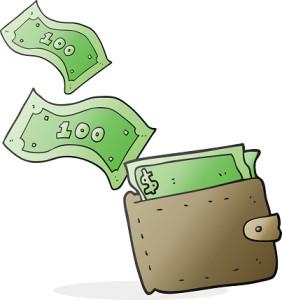 freehand drawn cartoon wallet full of money